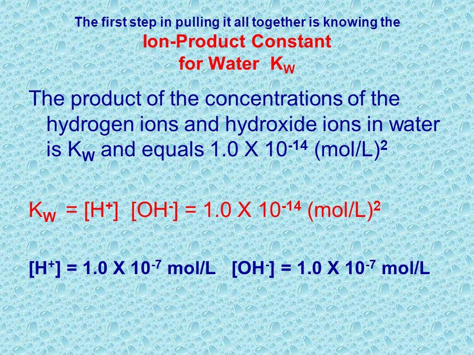 KW = [H+] [OH-] = 1.0 X 10-14 (mol/L)2